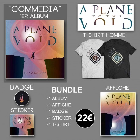 Pack A Plane To The Void - CD 'Commedia' + Tshirt + Affiche + Sticker + Badge