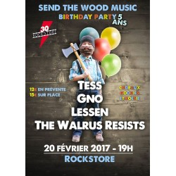 Pack 5 places - Billetterie Concert - TESS + GNO + LESSEN + THE WALRUS RESISTS - Mardi 20 Février 2017